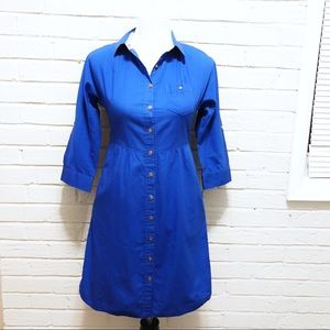Anthro Odille Lapis Lazuli cobalt blue shirt dress